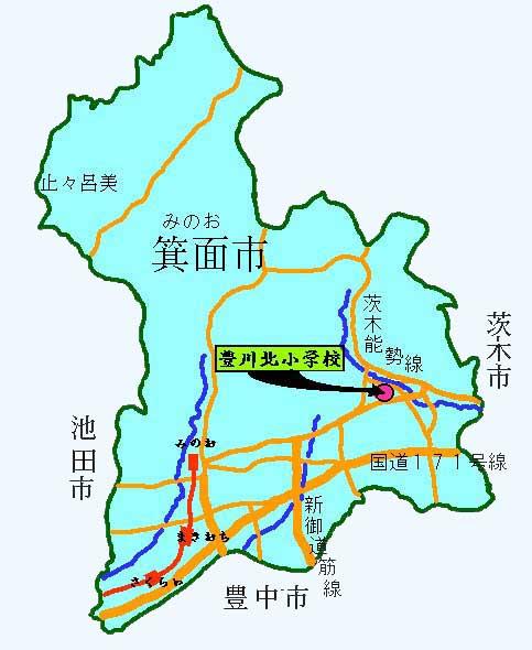 学校の位置(箕面市地図)/箕面市